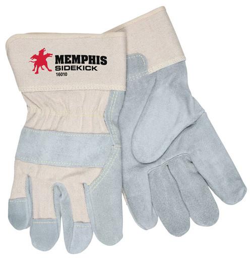 Memphis 16010L Side Kick Leather Palm Gloves, Size Large (12 Pair)