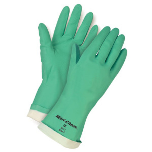 Memphis 5318MD Gloves Green Nitri-Chem, Flock Lined, Straight Cuff, Size 8 (12 Pair)