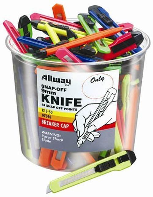 Allway Tools K13-50 9MM Snap Off Neon Knife Bucket, 50/Bucket