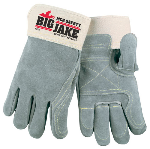 MCR Safety 1735 Lumber Jake Double Palm & Fingers, Full Leather Back, Size Large (1 Pair )
