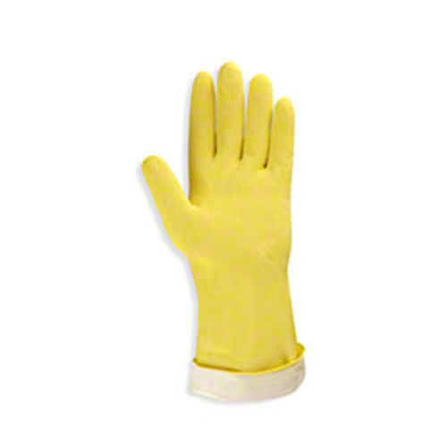 Cordova 4259R Standard Yellow Flock-Lined Latex Gloves, Size Large (12 Pair)