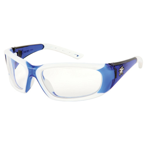 Crews FF320AF ForceFlex Safety Glasses Blue/White Frame w/Clear Anti-Fog Lens (1 Pair)