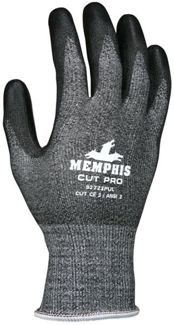 Memphis 92723PUL Cut Pro Salt & Pepper Shell Black Coated Palm & Finger Gloves, Size Large (12 Pair)