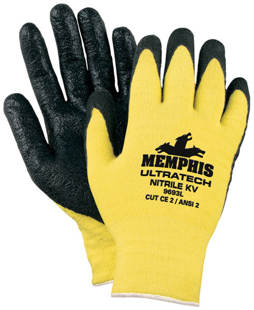 Memphis 9693L Yellow Cut Resistant Gloves Black Nitrile Coated Size Large (12 Pair)
