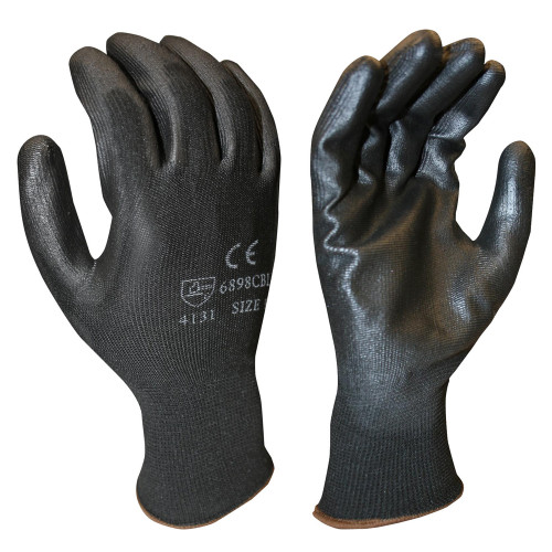 Cordova 6898CB Polyester Glove, Black PU Palm Coating, 13-Gauge Black Polyester Shell , Small (12 Pair)