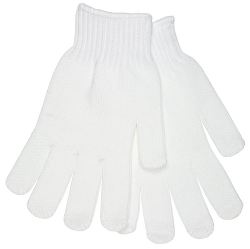 9615XLM Heavy Weight String Knit, White 100% Textured Polyester, Green Hem, XL (12 Pair)
