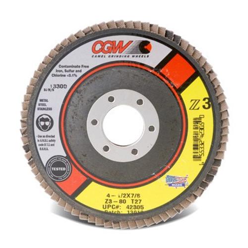 "CGW 42352 Flap Disc, 4 1/2"" x 5/8""-11, Z3 Medium 40G, XL T27 (10/pack)"