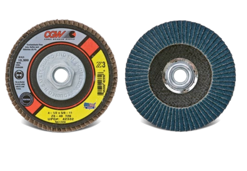 "CGW 42352 Flap Disc, 4 1/2"" x 5/8""-11, Z3 Medium 40G, XL T27 (10/pack)"