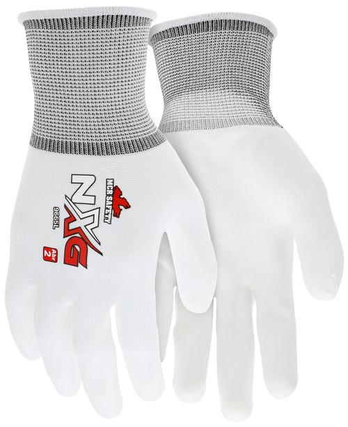 MCR 9665S - 13 Gauge White Nylon Shell, White PU Palm & Fingers (12 pr)