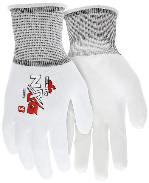 MCR 9665XL - 13 Gauge White Nylon Shell, White PU Palm & Fingers, XL (12 pr)
