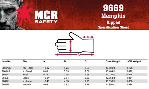 MCR Safety 9669S, 13 Gauge Black Nylon Shell, Black PU Palm & Fingers, S (12pr)