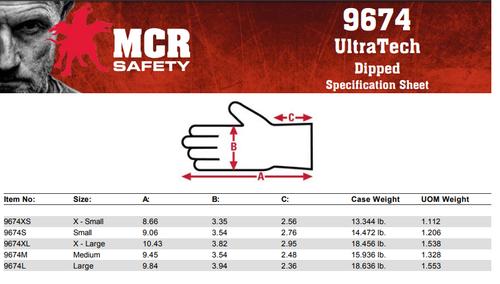 MCR Safety 9674XS, UltraTech® Foam, 15 G nylon shell, gray coated palm, XS (12pr)