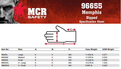 MCR Safety 96655L, 13 Gauge Wht Polyester Shell, Wht PU Palm & Fingertips, L (12pr)