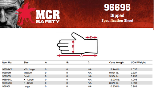 MCR Safety 96695XL, Latex Free 15- Gauge Black Nylon Shell, Gray PU Palm & Fingers, XL (12pr)