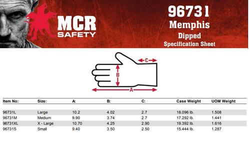 MCR Safety 9673XL, NXG 13 Gauge Gray Nylon Shell Blue Foam Latex Coated, XL (12pr)