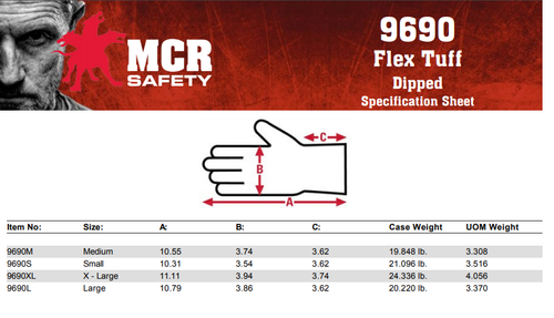 MCR Safety 9690M, FlexTherm®, 10 Gauge gray shell, latex palm & fingers, M (12pr)