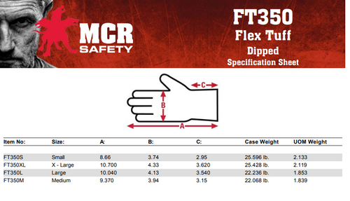 MCR Safety FT350L, FlexTuff® Nitrile 10 Gauge cotton/polyester, Nitrile dipped palm and fingers, L