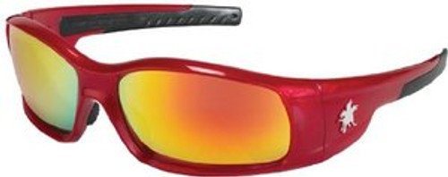 Crews SR13R Swagger Safety Glasses Red with Fire Mirror Lens (1 Pair)