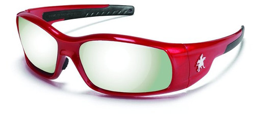 Crews SR137 Swagger Safety Glasses Red Frame w/ Silver Mirror Lens (1 Pair)