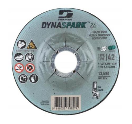 "Dynabrade 79827 DynaSpark ZA 4.5"" x .045"" x 7/8"" T42 Right Angle Cut-off Wheel (Qty. 25)"