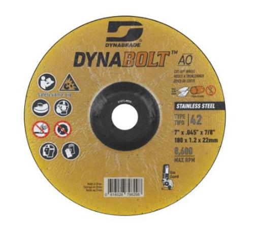"Dynabrade 79829 DynaBolt AO SS 7"" x .045"" x 7/8"" T42 Right Angle Cut-off Wheel (Qty.25)"