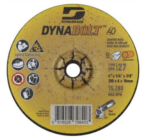 """Dynabrade 79840 DynaBolt AO 4"""" x 1/4"""" x 3/8"""" T27 Grinding Wheel (Qty.20)"""