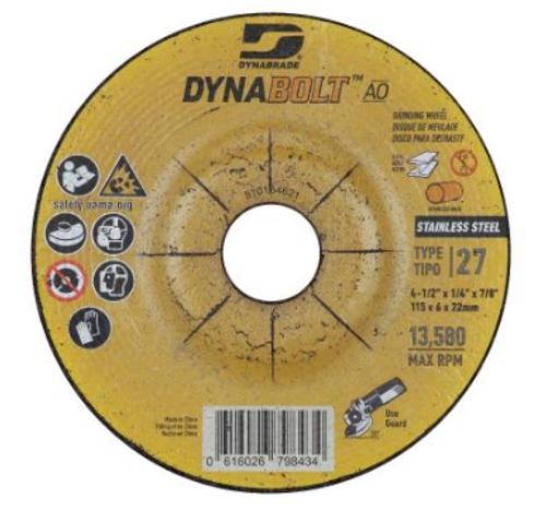 "Dynabrade 79843 DynaBolt AO SS 4.5"" x 1/4"" x 7/8"" T27 Grinding Wheel (Qty.30)"