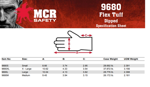 MCR Safety Flex-Tuff 9680L 10 Gauge, Blue Latex Palm & Fingers, L (12pr)