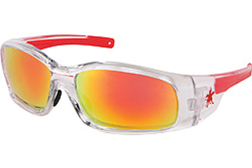 Crews SR14R Swagger Safety Glasses Clear Frame with Fire Mirror Lens