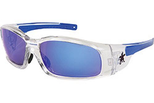 Crews SR148B Swagger Safety Glasses Clear Frame w/ Blue Diamond Mirror Lens (12 Pair)