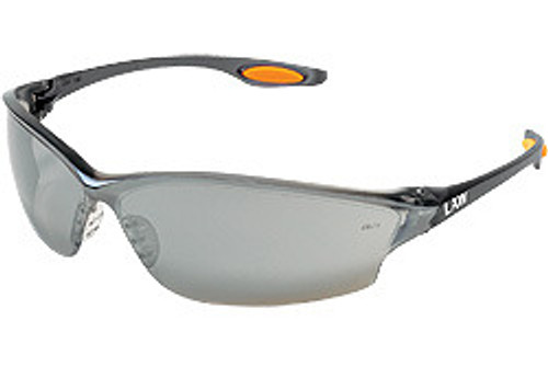 Crews LW217 Law 2 Safety Glasses Smoke Temple w/ Silver Mirror Lens (12 Pair)