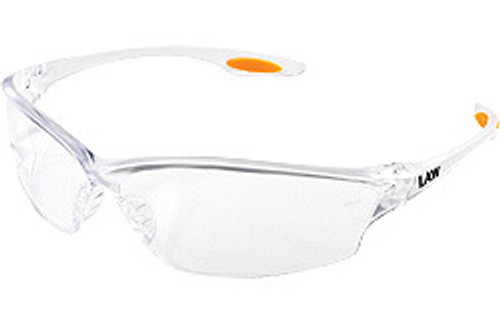 Crews LW210 Law 2 Safety Glasses Orange Temple Inserts w/ Clear Lens (12 Pair)