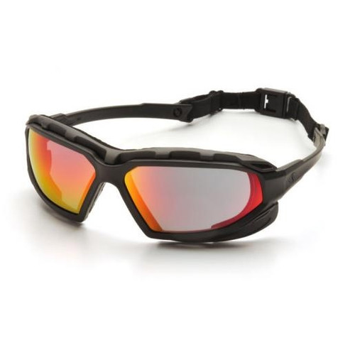 Pyramex SBG5055DT Highlander Plus Safety Glasses, Frame: Black-Gray, Lens: Sky Red Mirror Anti-Fog (12 Pair)