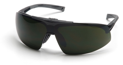 Pyramex SB4950STP Onix Plus Safety Glasses, Frame: Black, Lens: Clear Anti-Fog Bottom Lens/ 5.0 IR Filter Flip Lens (1 Pair)