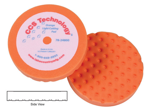 "Lake Country 78-24800 8"" x 1 1/4"" CCS Orange Light Cutting Pad Hook & Loop"