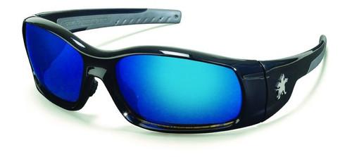 Crews SR118B Swagger Safety Glasses Black w/ Blue Diamond Mirror Lens (12 Pair)