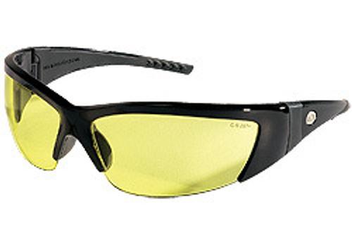 Memphis FF214 Forceflex Safety Glasses Blk w/ Blk Rubber & Amber Lens (12 Pair)