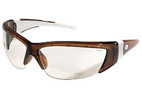 Memphis FF220 Forceflex Safety Glasses Brn w/ Wht Rubber and Clr Lens (12 Pair)
