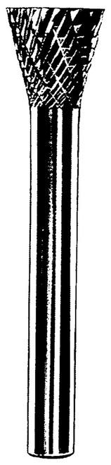 "Dynabrade 93349 - Carbide Burr 1/8""Dia. SN-42 D/C Burr 10 Deg Inverted Cone"