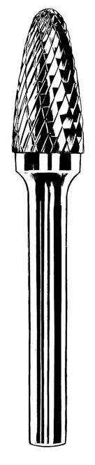 "Dynabrade 93344 Carbide Burr 1/8"" SF-42 D/C Burr Tree 1/2"" Flute L 1/8"" Shank"