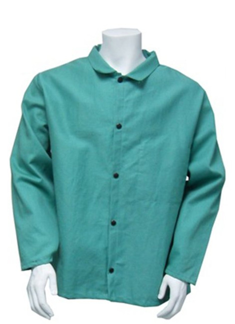 """Chicago Protective Apparel 30"""" FR 100% Cotton Green Welding Coat/Jacket Large (1 Each)"""