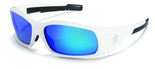 Crews SR128B Swagger Safety Glasses White w/ Blue Diamond Mirror Lens (12 Pair)