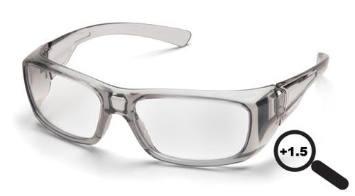 Pyramex SG7910D15 Emerge Safety Glasses, Frame: Gray, Lens: Clear +1.5 (12 Pair)