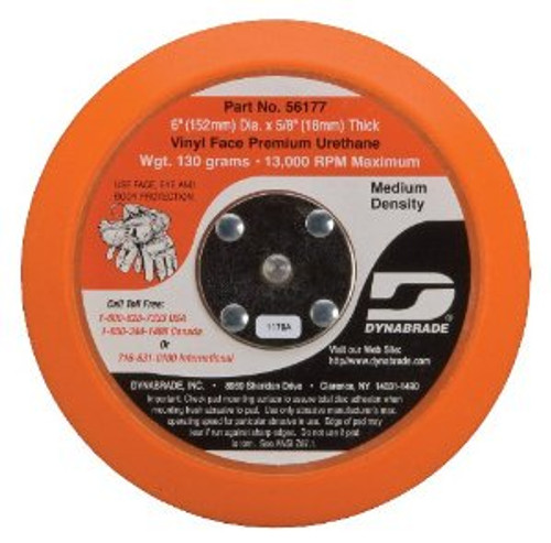 "Dynabrade 56177 - 6"" (152 mm) Dia. Non-Vacuum Disc Pad  Vinyl-Face 5/8"" (16 mm) Thickness Urethane  Medium Density  5/16""-24 Male Thread"