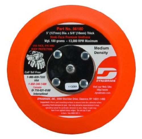 "Dynabrade 56180 - 5"" (127 mm) Dia. Non-Vacuum Disc Pad  Hook-Face  Short Nap 5/8"" (16 mm) Thickness Urethane  Medium Density  5/16""-24 Male Thread"