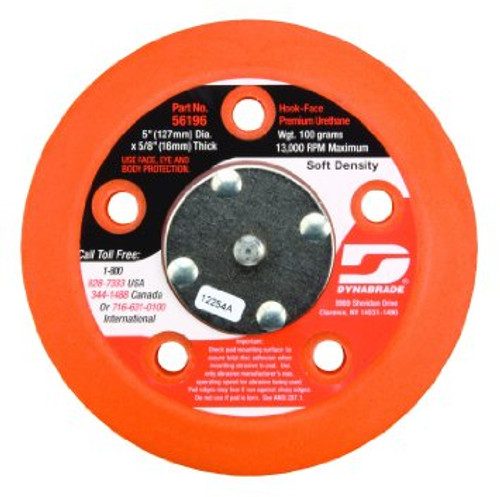"Dynabrade 56196 - 5"" (127 mm) Dia. Vacuum Disc Pad  Hook-Face  Short Nap 5/8"" (16 mm) Thickness Urethane  Soft Density  5/16""-24 Male Thread"
