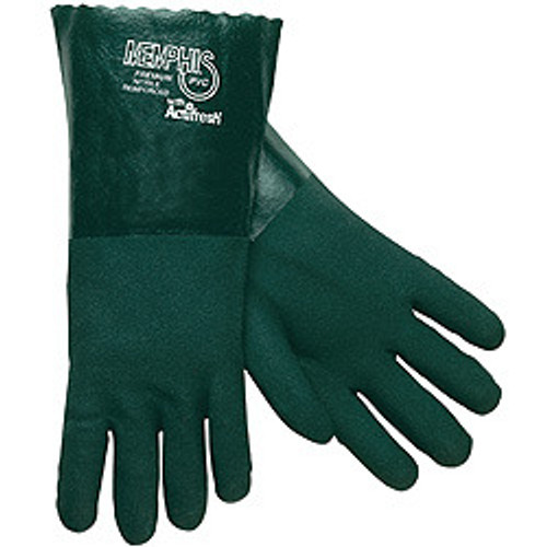 """Memphis Glove 6414 Premium Green PVC Double Dipped Jersey Lining 14"""" Gauntlet, Size Lg. (12 Pair)"""