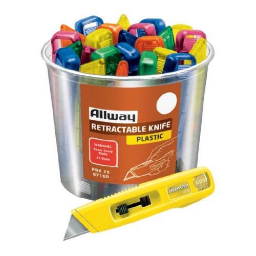 Allway Tools PRK25 Bucket of Retractable Utility Knives, Mixed Neon Colors 25/Bucket