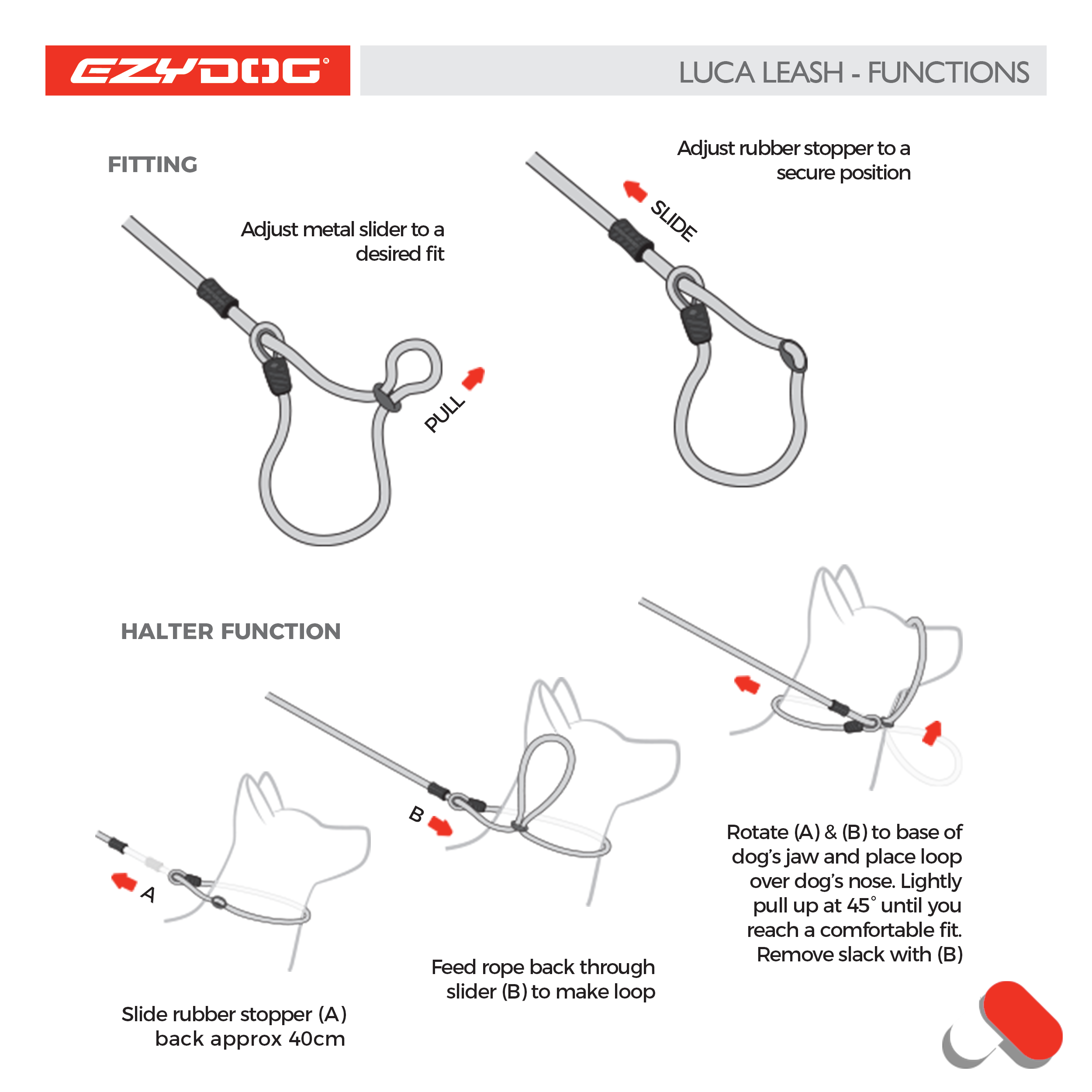 luca leash adjustment