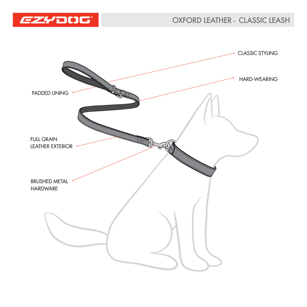 Oxford Leather Leash Features Diagram